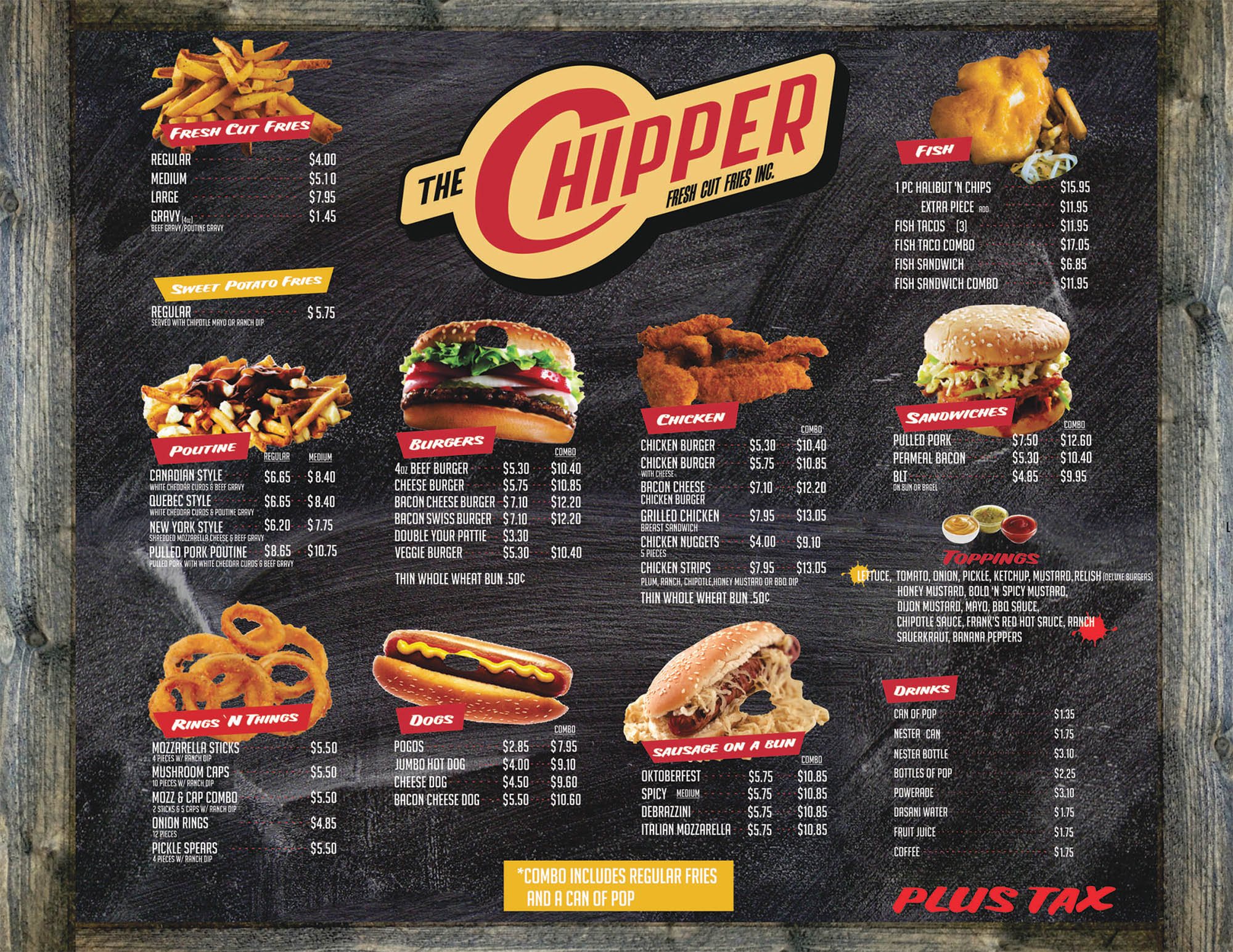 The Chipper Menu Fries and Entrees